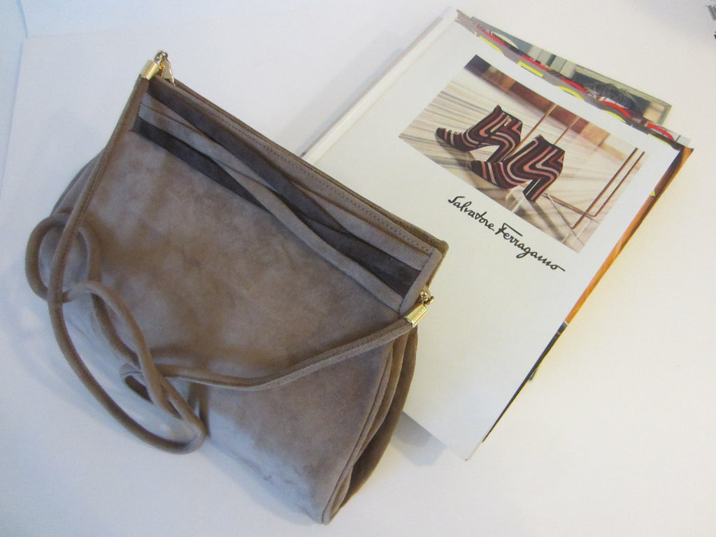 Italian Salvatore Ferragamo Camel Suede Clutch Cross Body Purse - Designer Unique Finds