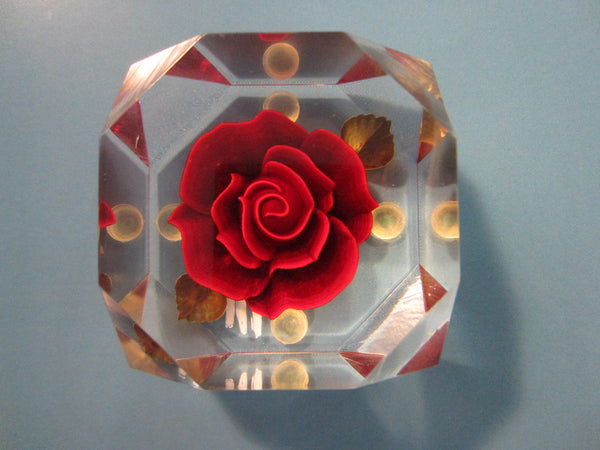 Lucite Paperweight Red Rose Green Leaves - Designer Unique Finds