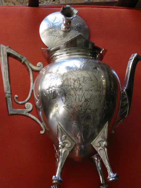 Roger Smith Co Conn New Haven Silver Plated Tea Kettle Circa 1884 Signed - Designer Unique Finds   - 3