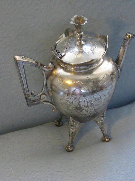 Roger Smith Co Conn New Haven Silver Plated Tea Kettle Circa 1884 Signed - Designer Unique Finds   - 4