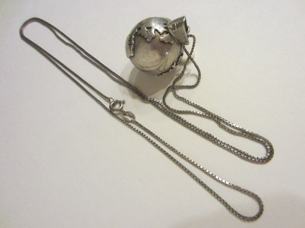 World Globe Sterling Pendant Marked SW 925 Mexico Silver Chain - Designer Unique Finds
