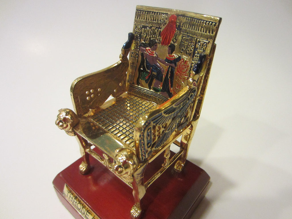 Throne Of Tut Egyptian Decorative Elaborated Golden Chair Statue - Designer Unique Finds