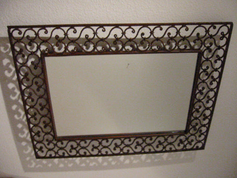 Contemporary Industrial Metal Openwork Wall Mirror Geometric Hearts - Designer Unique Finds