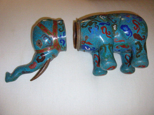 Asian Chinese Cloisonne Elephant Jar Figurative Blue Red Enameling - Designer Unique Finds   - 9