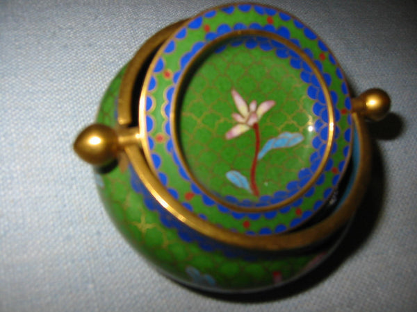 Asian Cloisonne Roll Top Brass Covered Bowl Lotus Flowers - Designer Unique Finds   - 3