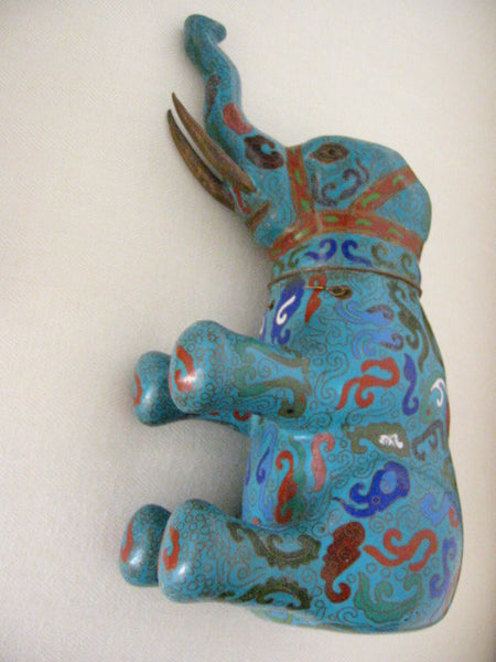 Asian Chinese Cloisonne Elephant Jar Figurative Blue Red Enameling - Designer Unique Finds   - 6