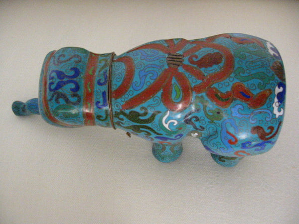 Asian Cloisonne Elephant Box Dimensional Blue Statue Red Accent Brass Tusks - Designer Unique Finds