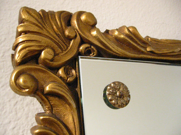 Gold Leaf Ruffled Wood Mirror Decorated Brass Buttons - Designer Unique Finds   - 2