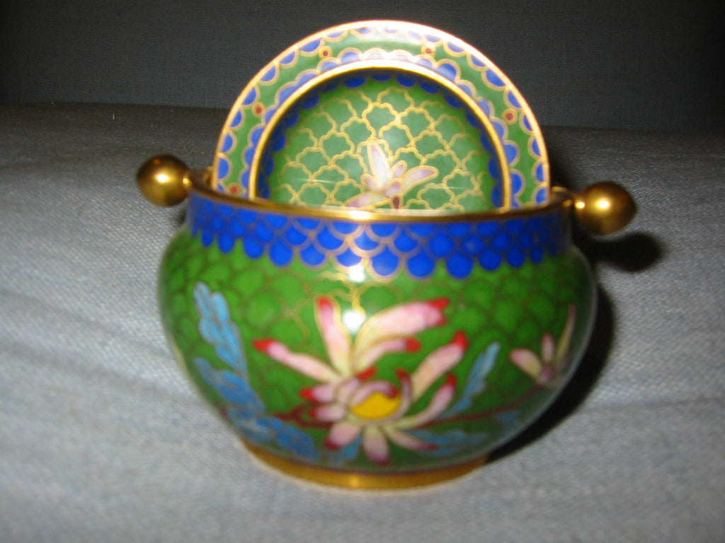 Asian Cloisonne Roll Top Brass Covered Bowl Lotus Flowers - Designer Unique Finds   - 1