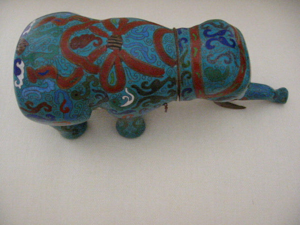 Asian Chinese Cloisonne Elephant Jar Figurative Blue Red Enameling - Designer Unique Finds   - 8