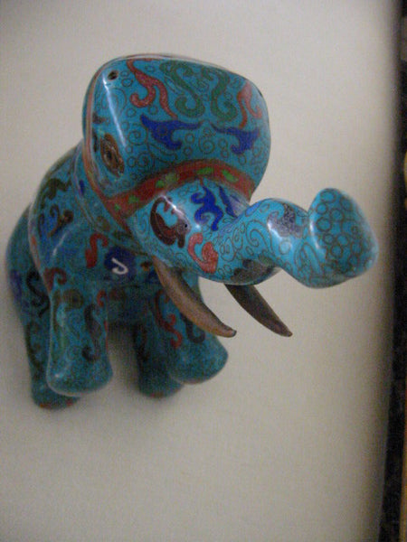 Asian Chinese Cloisonne Elephant Jar Figurative Blue Red Enameling - Designer Unique Finds   - 7