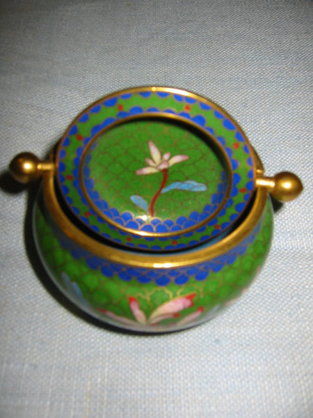 Asian Cloisonne Roll Top Brass Covered Bowl Lotus Flowers - Designer Unique Finds   - 4