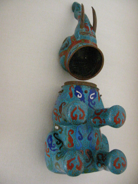 Asian Chinese Cloisonne Elephant Jar Figurative Blue Red Enameling - Designer Unique Finds   - 5