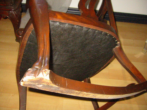 Upholstered Mahogany William IV Style Rocking Chair - Designer Unique Finds