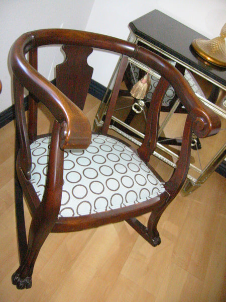 William IV Style Updated Upholstery Mahogany Rocking Chair