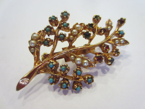 Gold Plated Leaf Brooch Decorated Turquoises Seed Pearls Ruby Stones - Designer Unique Finds   - 1