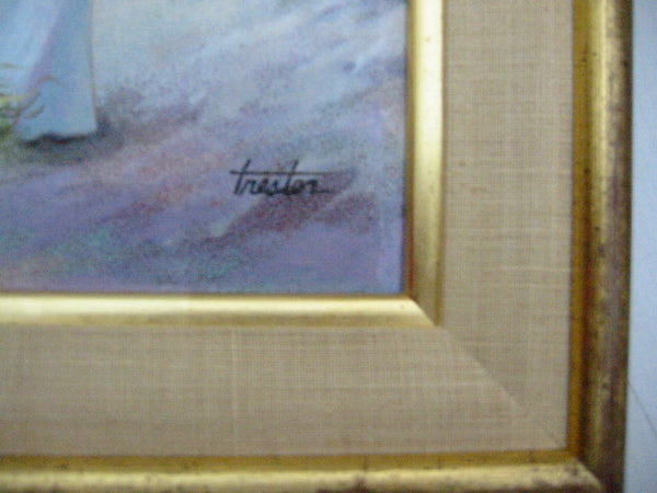 Lorraine Trester Romantic Scene Enamel Copper Painting - Designer Unique Finds