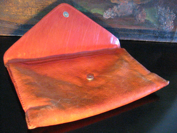 Red Leather Designer Envelope Clutch Hand Made In Italy - Designer Unique Finds   - 5