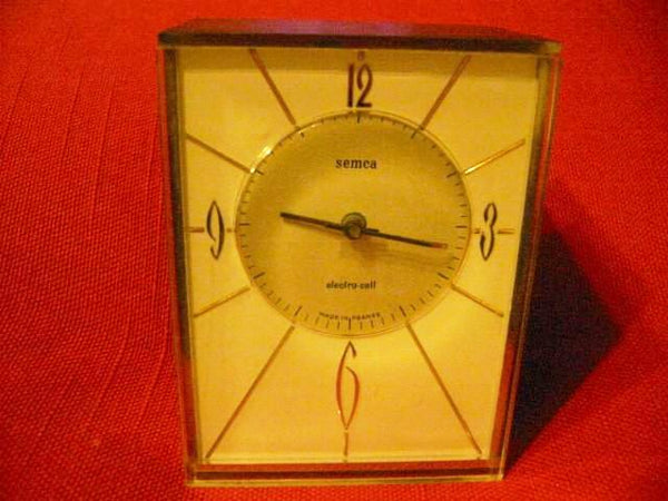 Semca Electro Cel France Brass Case Clock Quartz Seikosha - Designer Unique Finds