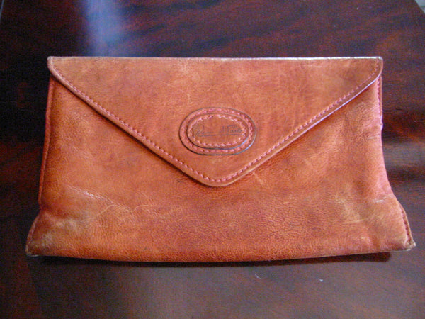 Red Leather Designer Envelope Clutch Hand Made In Italy - Designer Unique Finds   - 1