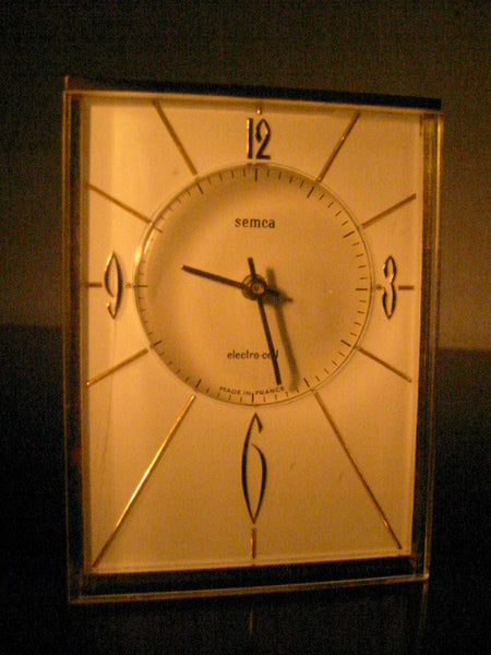 Semca Electro Cel France Brass Case Clock Quartz By Seikosha - Designer Unique Finds   - 2