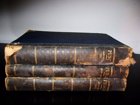 Punch Illustrated Leather Bound Three Volumes English Humorist Satire Political Magazines - Designer Unique Finds