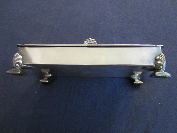 Fashioned By Ronson Silver Plated Rectangular Footed Box With Hallmarks - Designer Unique Finds   - 10