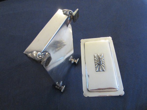 Fashioned By Ronson Silver Plated Rectangular Footed Box With Hallmarks - Designer Unique Finds   - 2