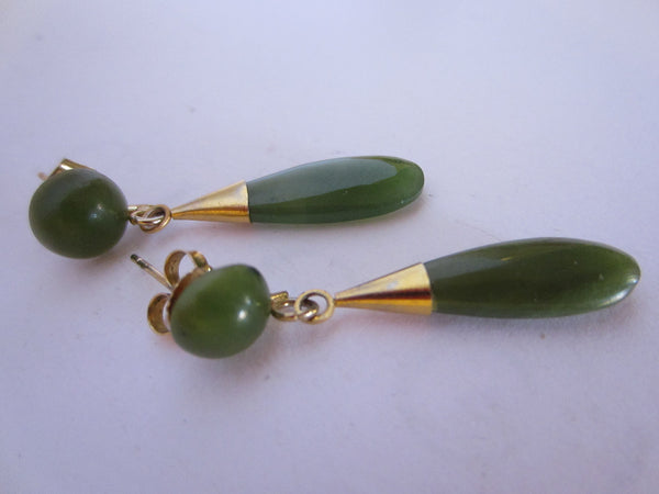 Mid Century Asian Green Jade Earrings Gold Plated - Designer Unique Finds   - 2