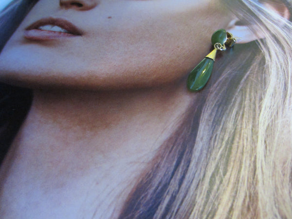 Mid Century Asian Green Jade Earrings Gold Plated - Designer Unique Finds   - 3