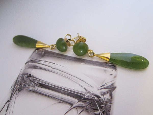 Mid Century Asian Green Jade Earrings Gold Plated - Designer Unique Finds   - 1