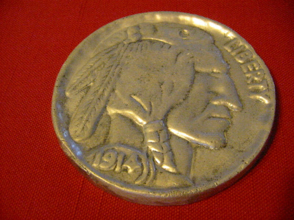 Liberty American Pewter Coin Native Portrait Medallion - Designer Unique Finds