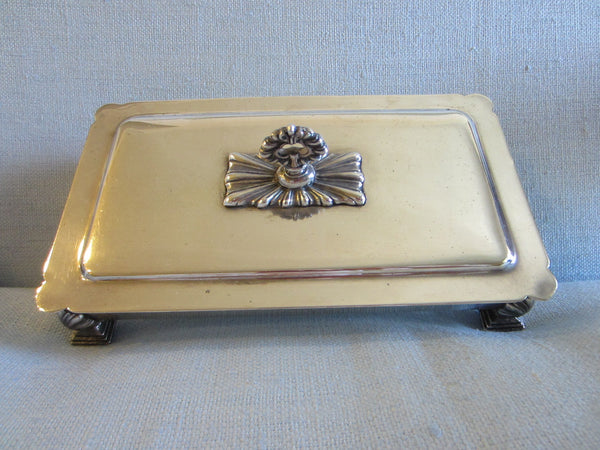 Fashioned By Ronson Silver Plated Rectangular Footed Box With Hallmarks - Designer Unique Finds   - 8
