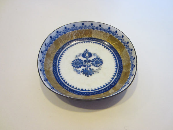 Miniature Metal Dish Hand Painted Crafted Floral Indigo Medallion - Designer Unique Finds   - 3