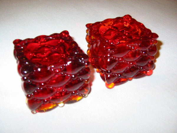 Ruby Glass Votive Candle Holders Open Salt And Pepper - Designer Unique Finds   - 1