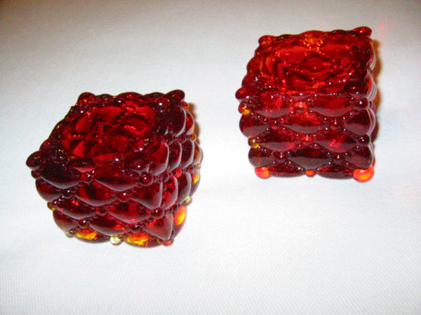 Ruby Glass Votive Candle Holders Open Salt And Pepper - Designer Unique Finds   - 3