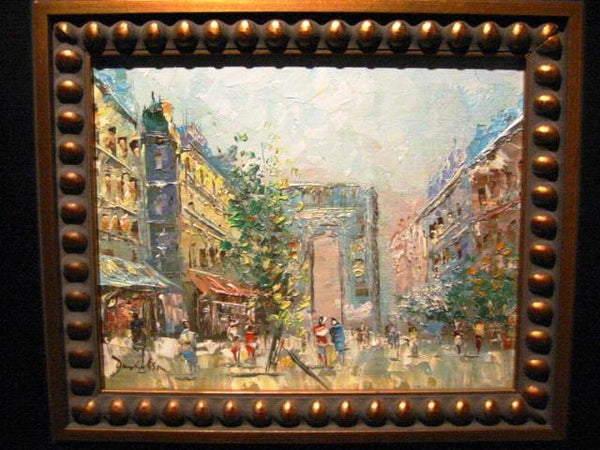 Architectural Paris City View Contemporary Signed Oil On Canvas
