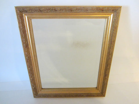 Beveled Mirror Gilt Wood Decorated Floral Ornate - Designer Unique Finds
