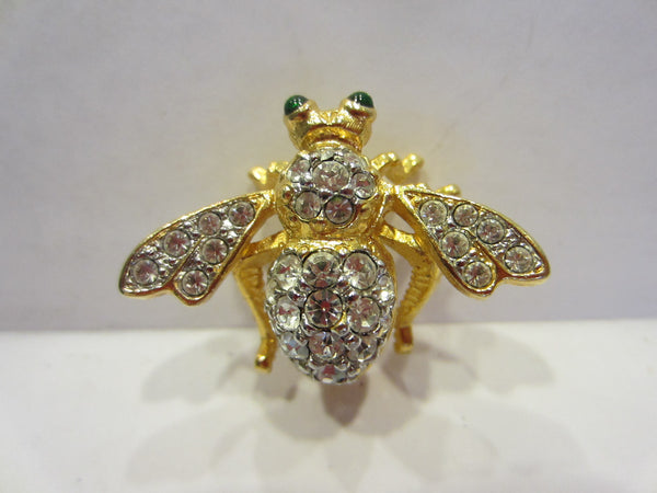 Joan Rivers Bumble Bee Signed Gold Plated Swarovsky Crystals - Designer Unique Finds   - 6