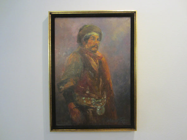 A Tribal Man Portrait Signed Oil On Canvas Inscribed Period Frame
