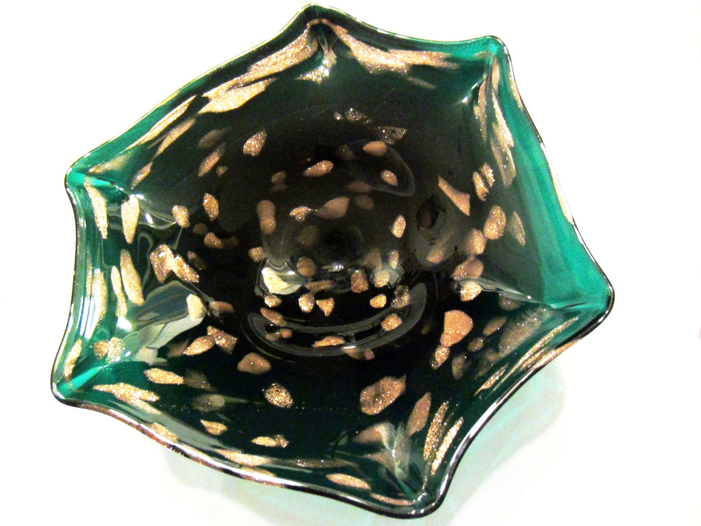 Italian Green Seguso Murano Bowl Decorated Gold Inclusion Star Design - Designer Unique Finds