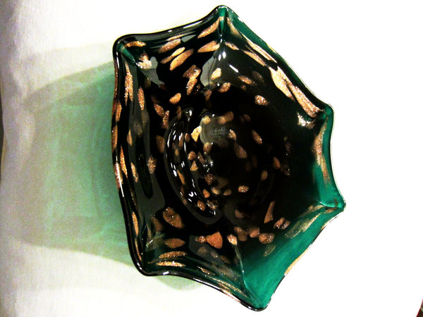 Italian Green Seguso Murano Bowl Gold Inclusion Star Design