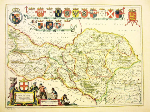 Yorkshire North Riding Map Elaborated Hand Decorated Art by Blaeu - Designer Unique Finds