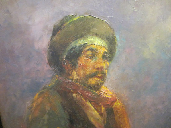 A Tribal Man Portrait Oil On Canvas Signed By Artist Period Frame