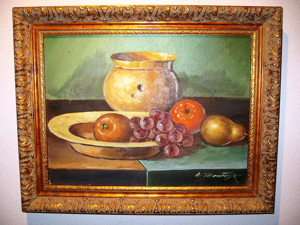 A Montoya Spanish Still Life Fruits Oil On Canvas - Designer Unique Finds   - 2
