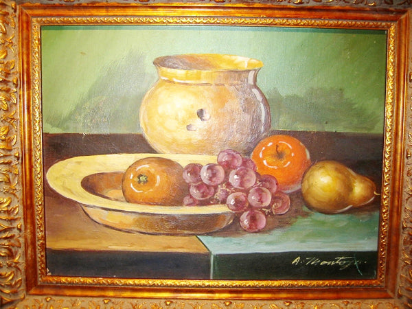 A Montoya Spanish Still Life Fruits Oil On Canvas - Designer Unique Finds   - 1