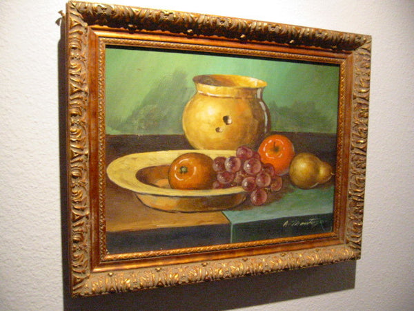 A Montoya Spanish Still Life Fruits Oil On Canvas - Designer Unique Finds   - 5
