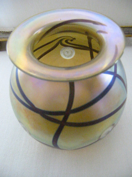 Eickholt Abstract Iridescent Glass Vase Artist Signed - Designer Unique Finds   - 1