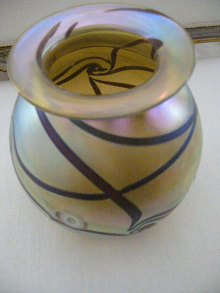 Eickholt Abstract Iridescent Glass Vase Artist Signed - Designer Unique Finds   - 7