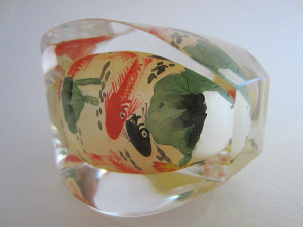 Oriental Snuff Bottle Interior Painted Nautical Glass Agate Stopper - Designer Unique Finds